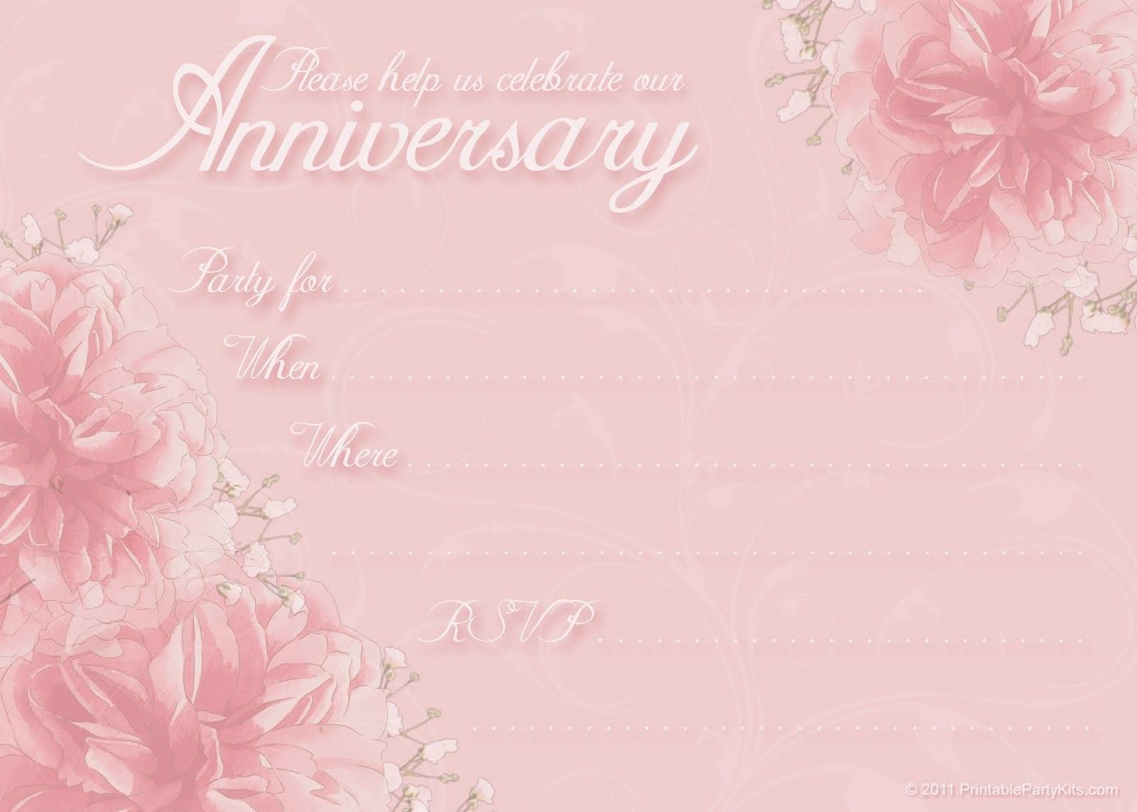 Anniversary Party Invitation Template Free