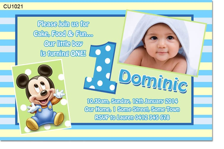 Baby Mickey Invitation