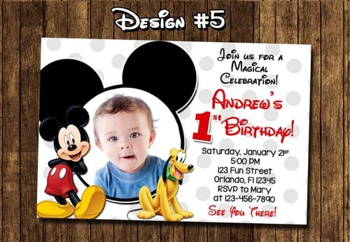 Baby Mickey Mouse 1st Birthday Printable Invitations
