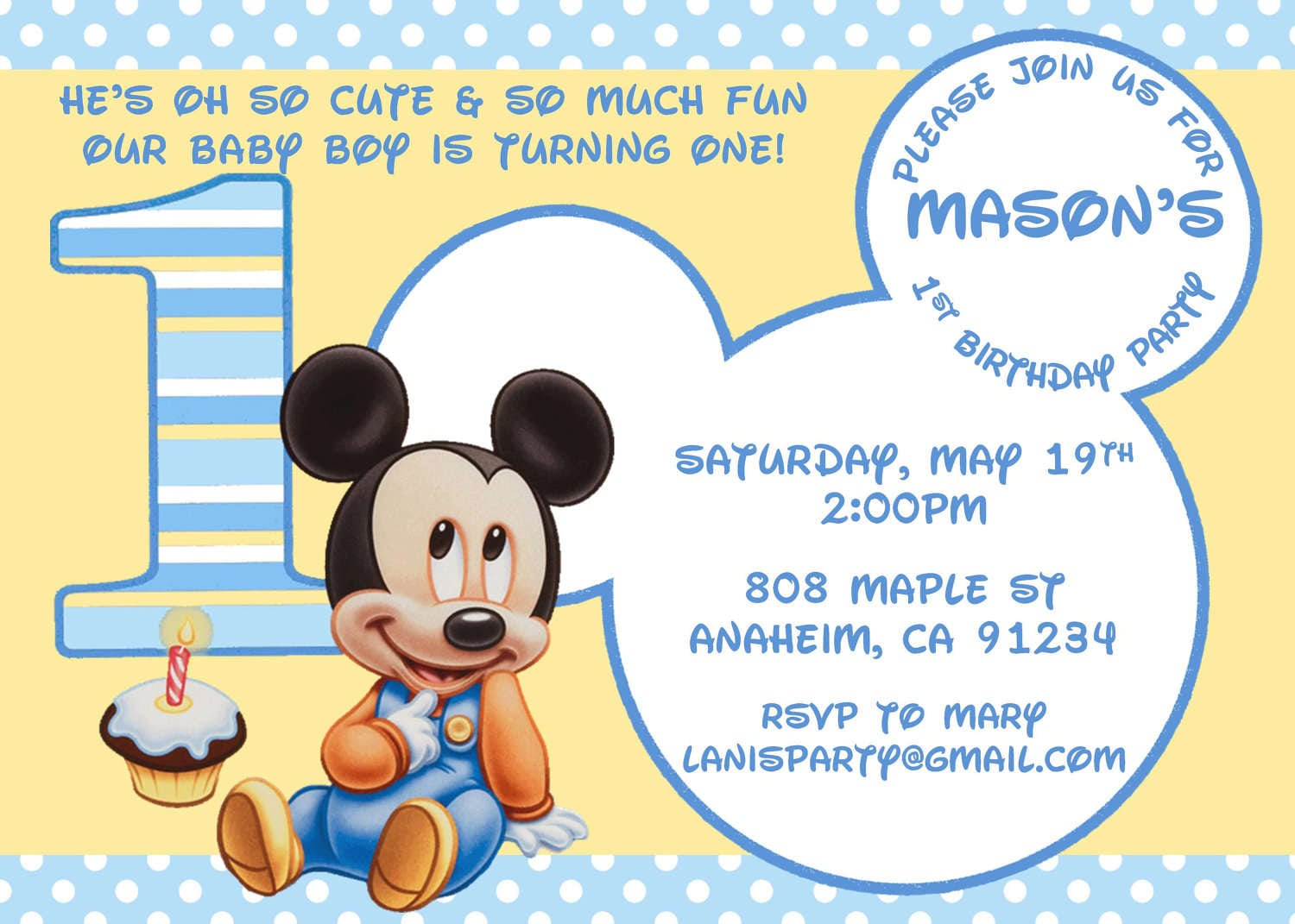 Baby Mickey Mouse Birthday Invitation Template