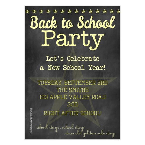 Back To School Party Invitation Templates