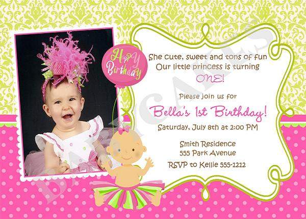 Birthday Invitation Wording For 1st Bday