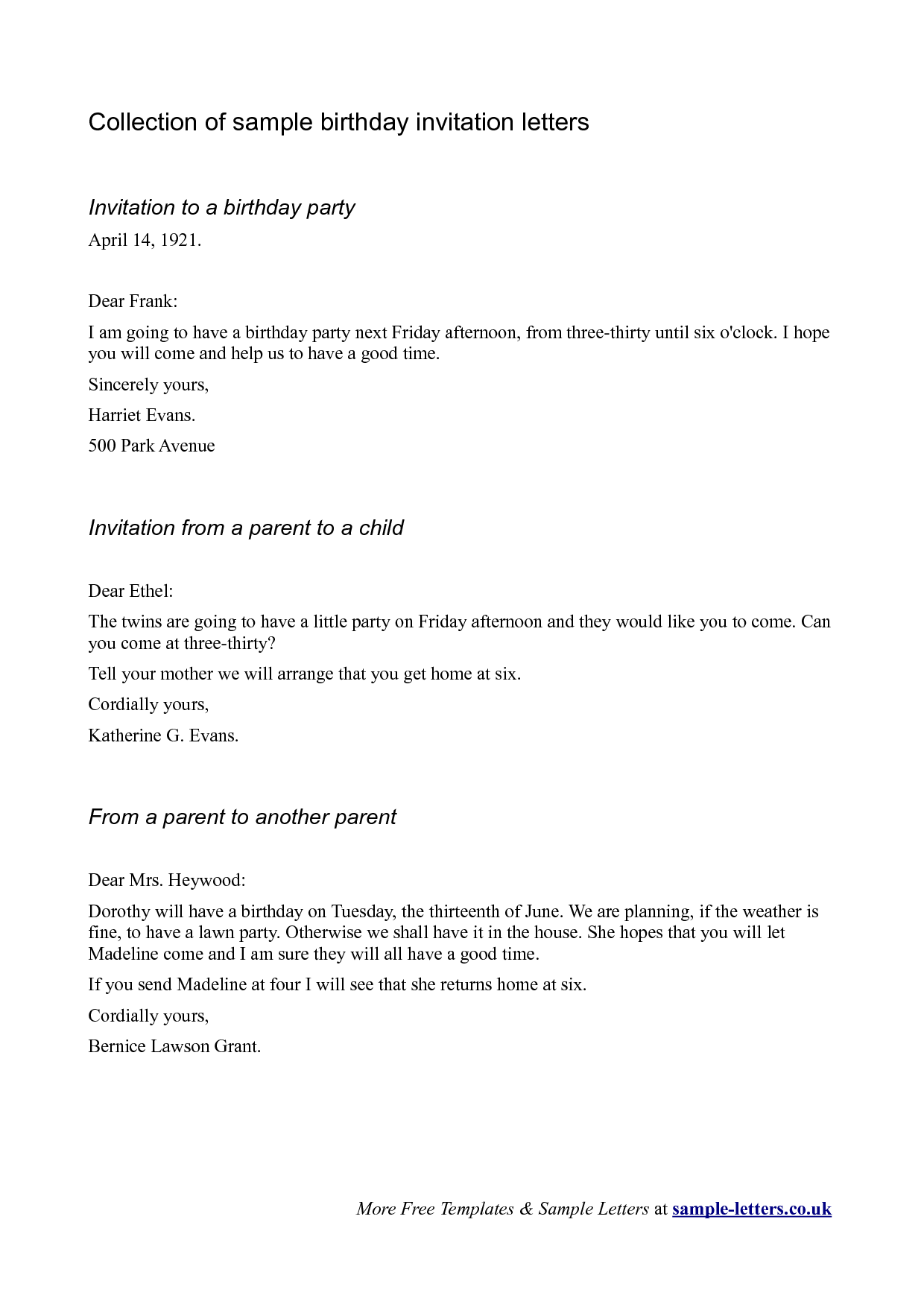 Birthday Party Invitation Letter
