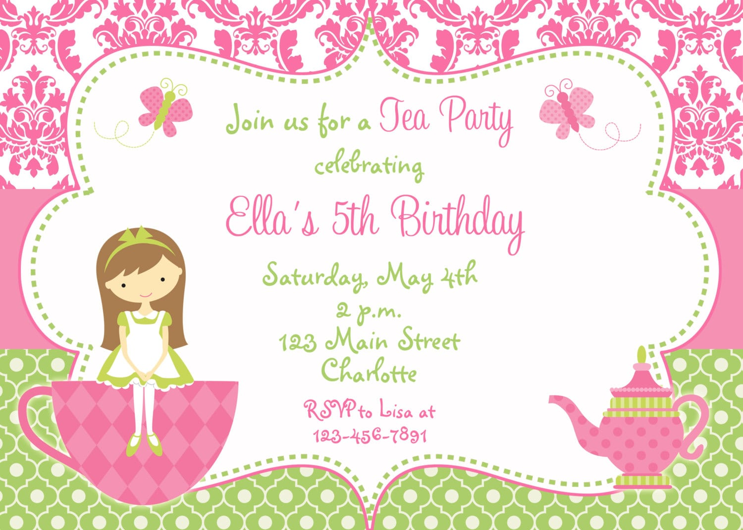 Blank Invitation For A Princess Tea Party
