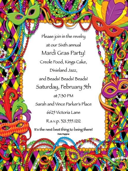 Blank Mardi Gras Invitation Paper orderecigsjuiceinfo
