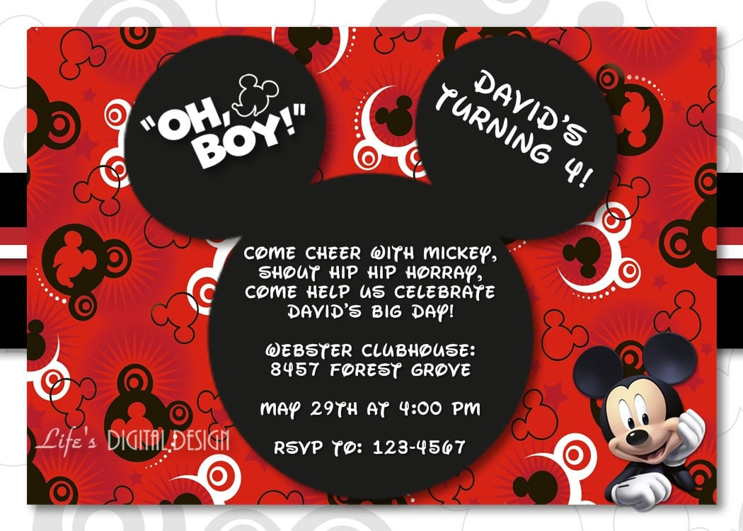 Birthday Invitation Card Mickey Mouse with great invitation template