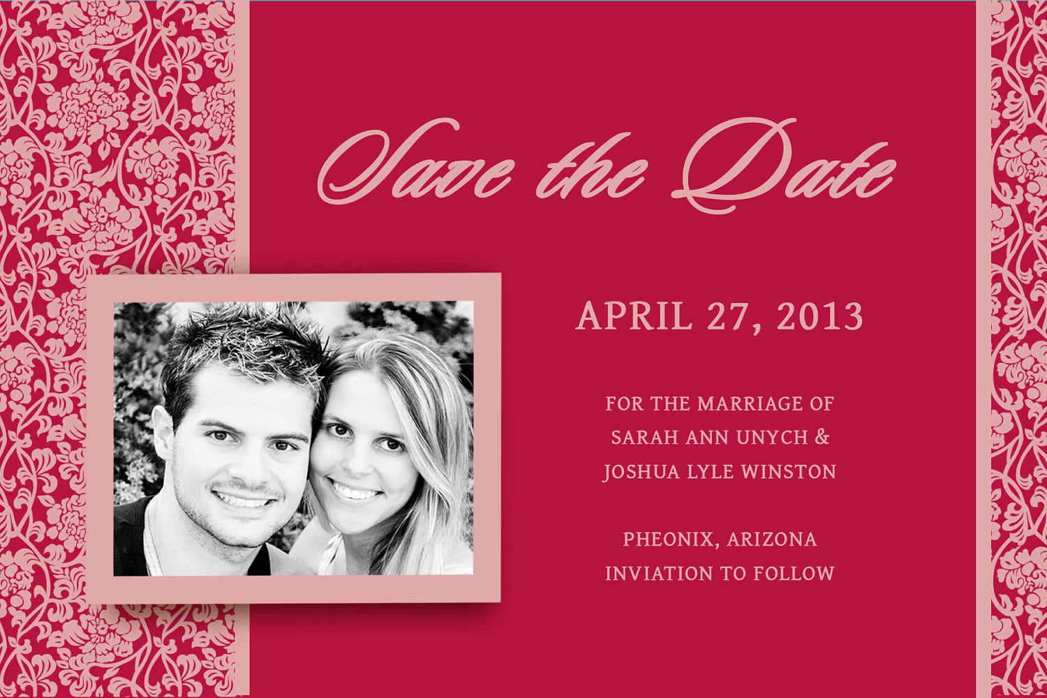 Blank Red Wedding Invitation Template