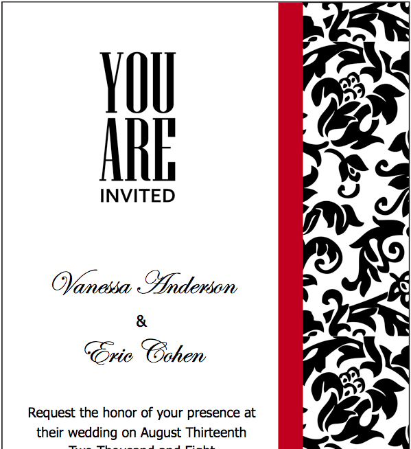 Wedding Invitation Templates Blank: Blank Red Wedding Invitation Template