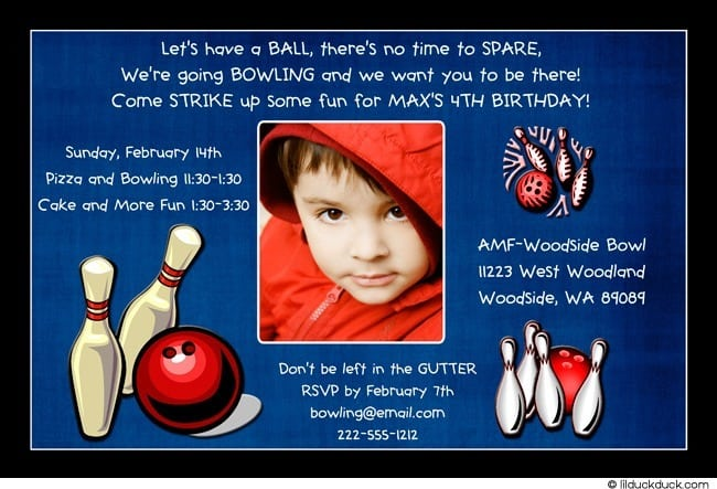 Bowling Birthday Invitation Wording