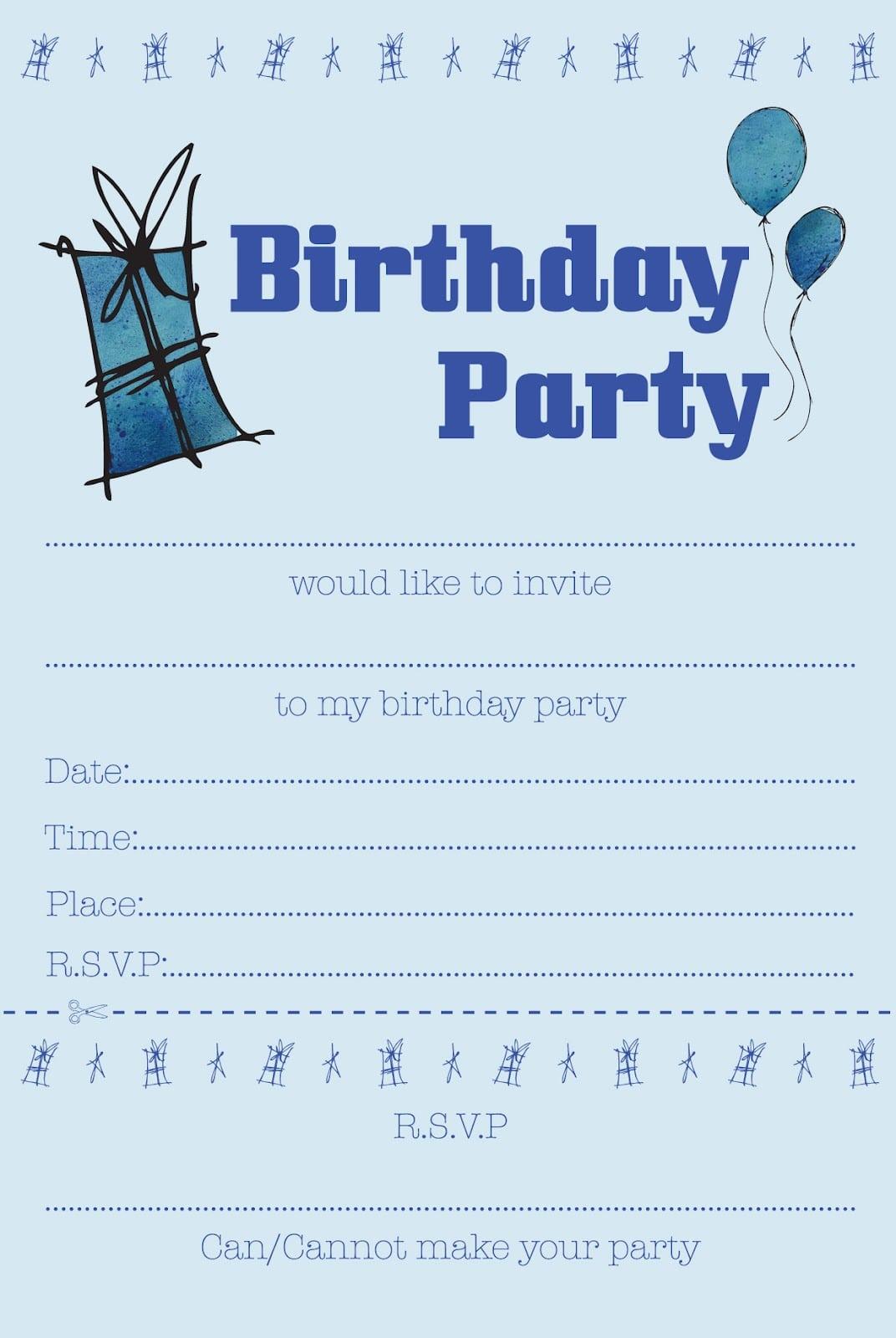 Boys Party Invitation Free