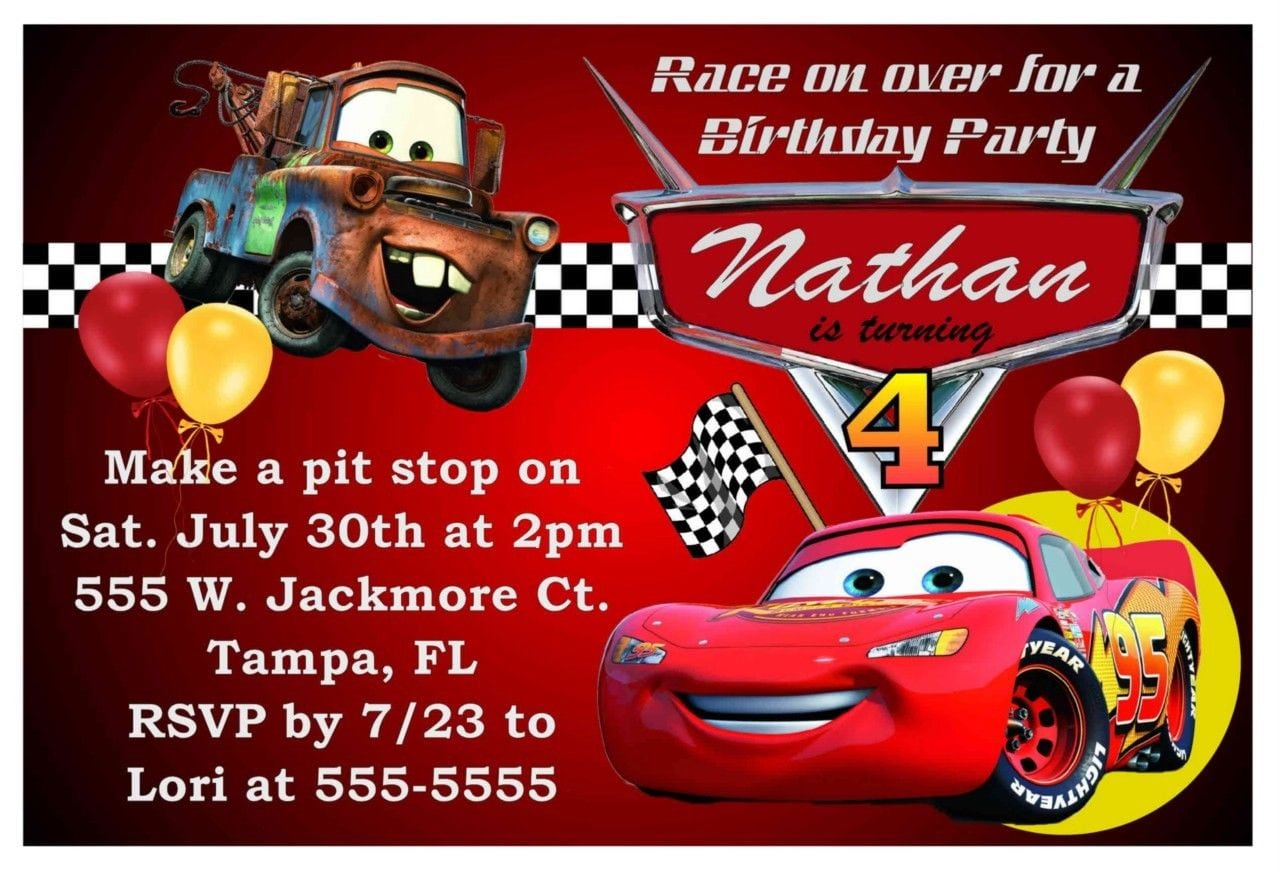 Cars Theme Party Invitation