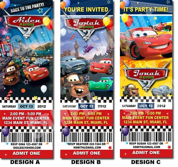 Cars 2 Ticket Invitation Template For Free