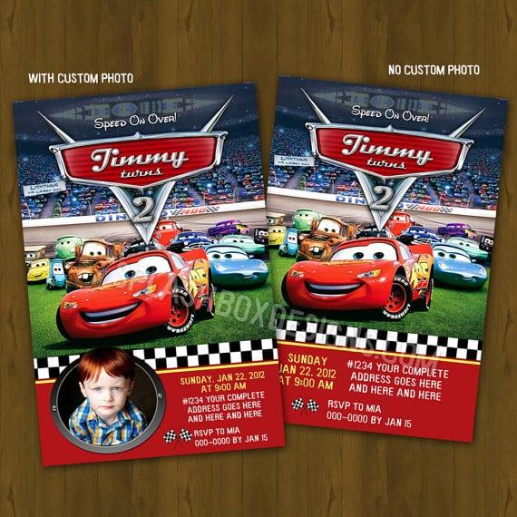 Cars Invitation Birthday Cards