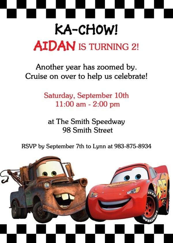 Cars Theme Party Invitation