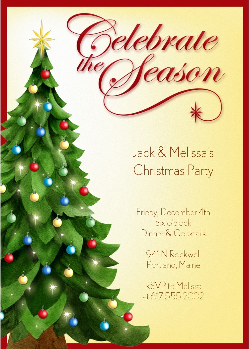 christmas in invitation template