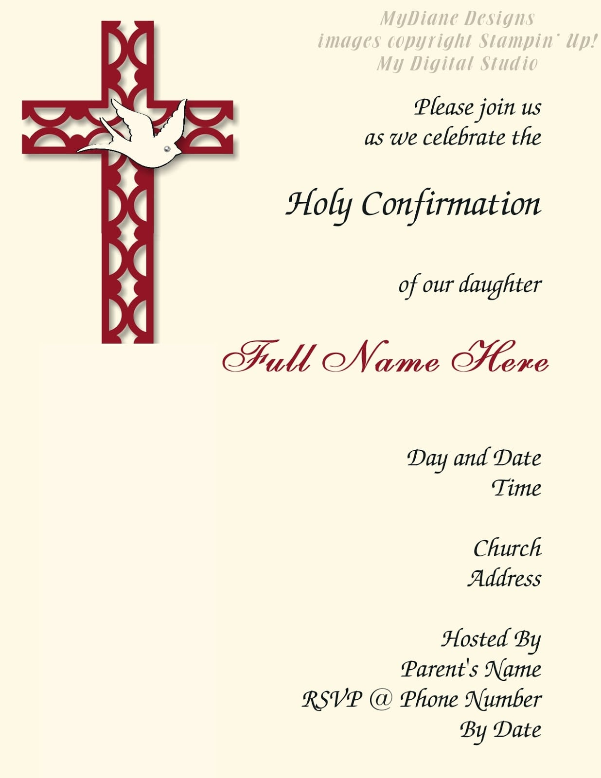 Confirmation Invitation Cards Template