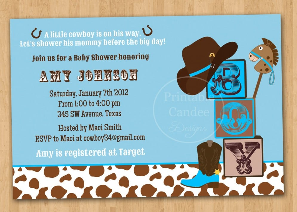 Cowboy Baby Shower Invitations Free Printable