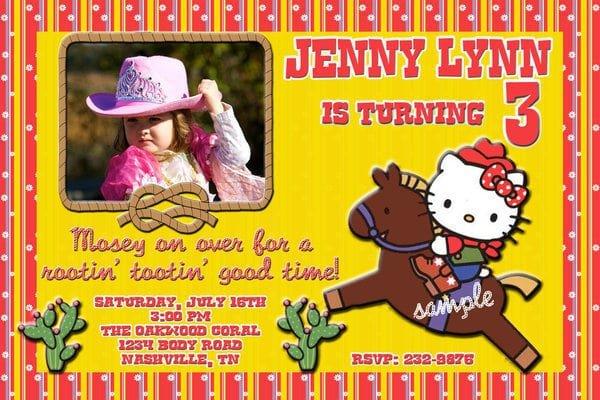 Cowgirl Hello Kitty Invitation