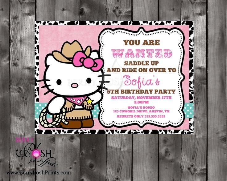 Cowgirl Hello Kitty Invitations