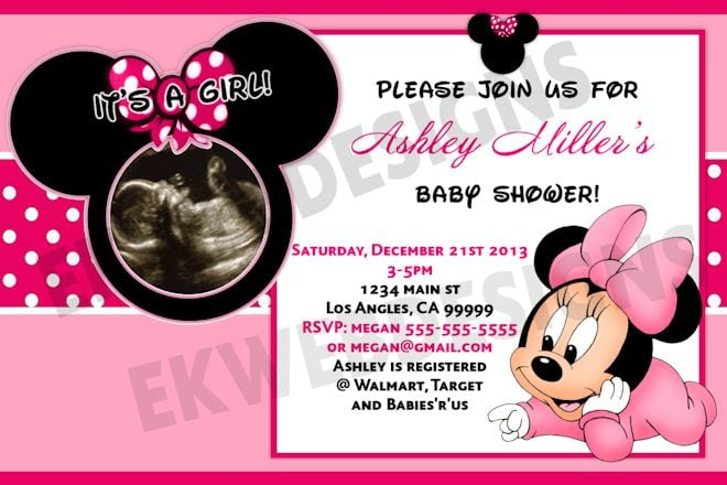 Customized Minnie Mouse Baby Shower Invitations