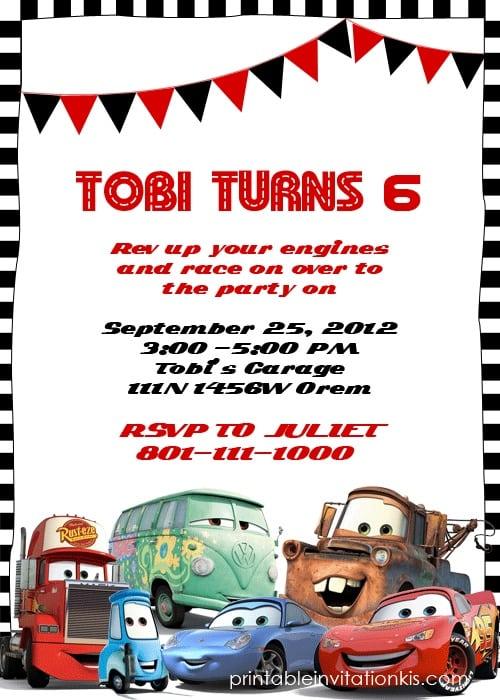 Disney Cars Birthday Invitation Templates