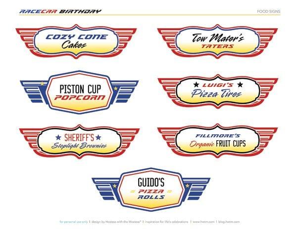 Disney Cars Birthday Printables Free