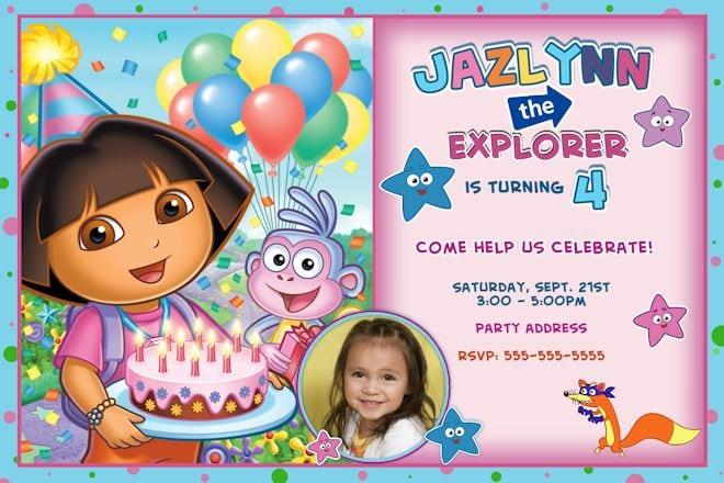 Dora Explorer Birthday Invitation Template