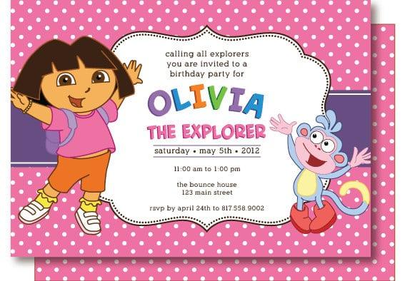 Dora Explorer Birthday Invitation Wording