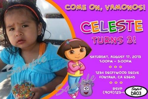 Dora The Explorer Birthday Party Invitation Design