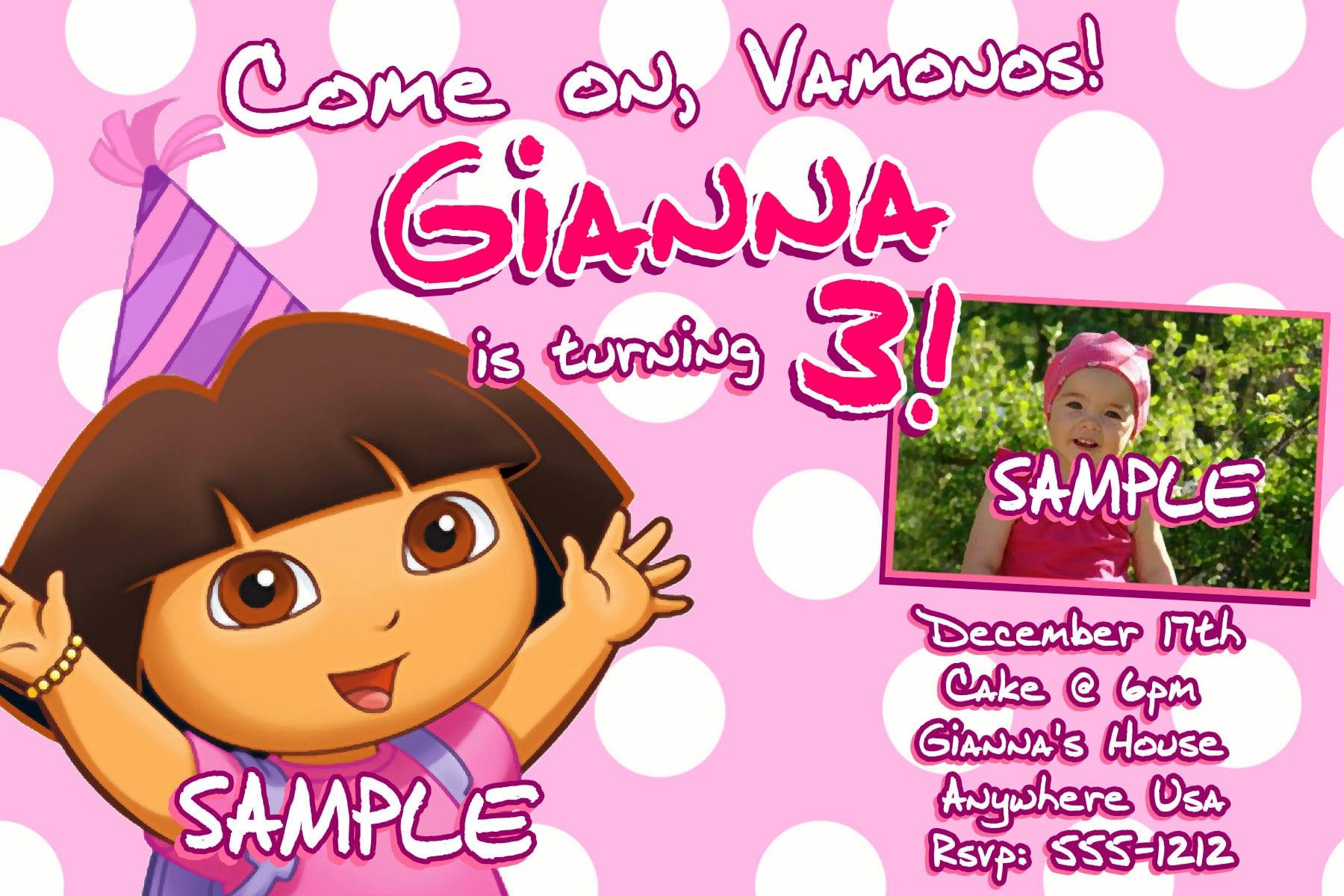 Dora The Explorer Free Invitation