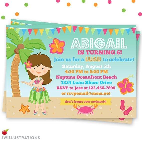 Downloadable Luau Party Invitations