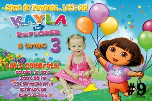 Editable Dora Invitations