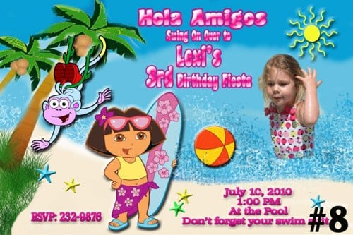 Editable Dora The Explorer Invitations