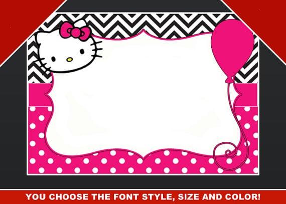 editable hello kitty birthday template invitation