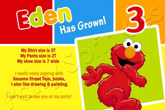 Elmo Photo Card Invitations