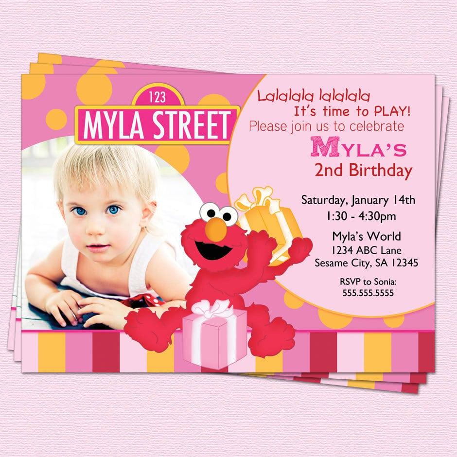 Elmo Photo Invitations Birthday