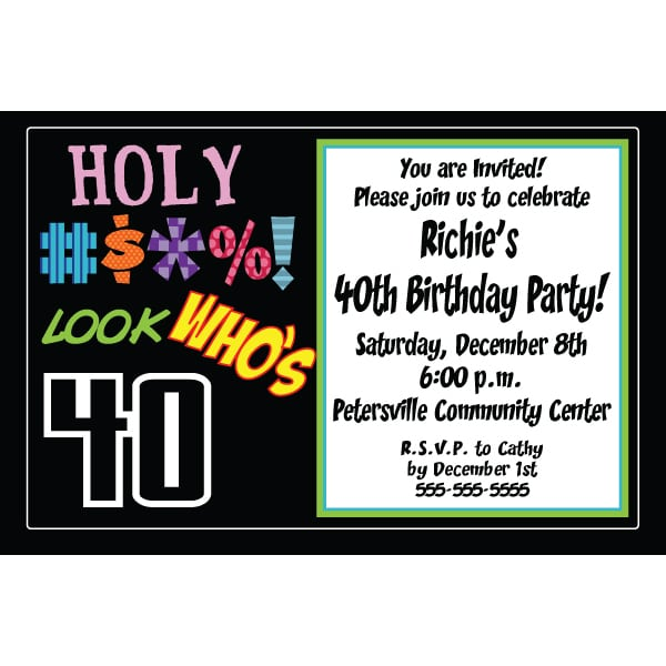 Examples Of 40th Birthday Invitations