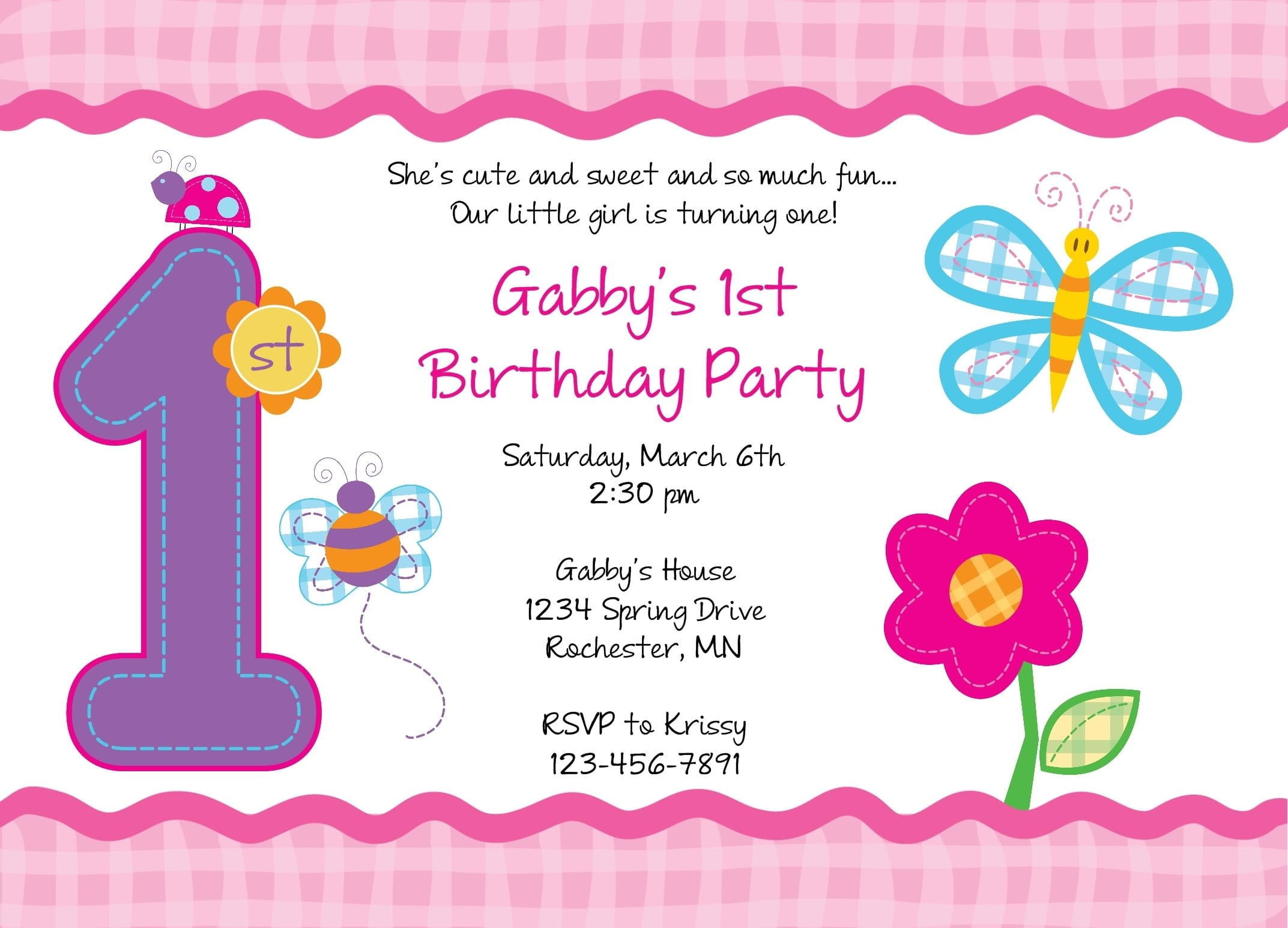 First Birthday Invitation Free Template einmaleinshaus – First Birthday Invitation Templates Free
