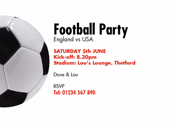 Football Birthday Party Invitation Templates