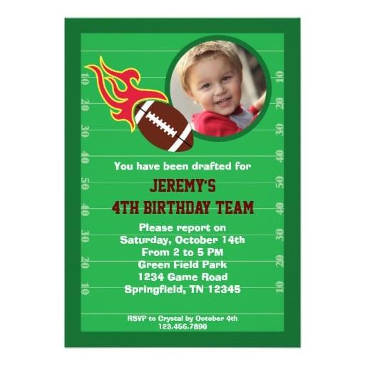 Football Themed Birthday Invitation Wording