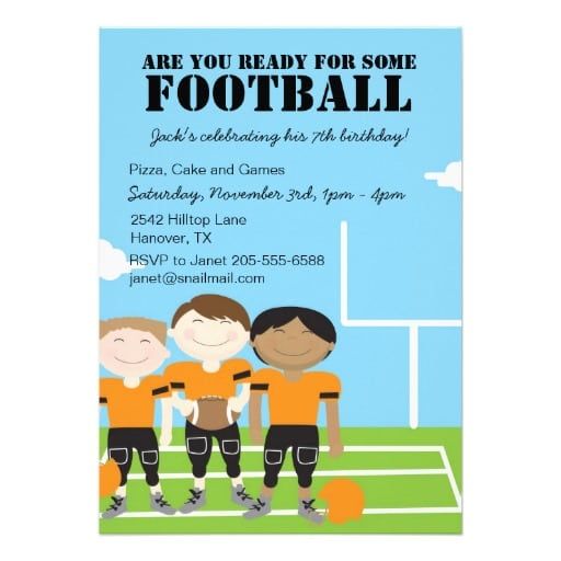 Football Themed Birthday Invitations