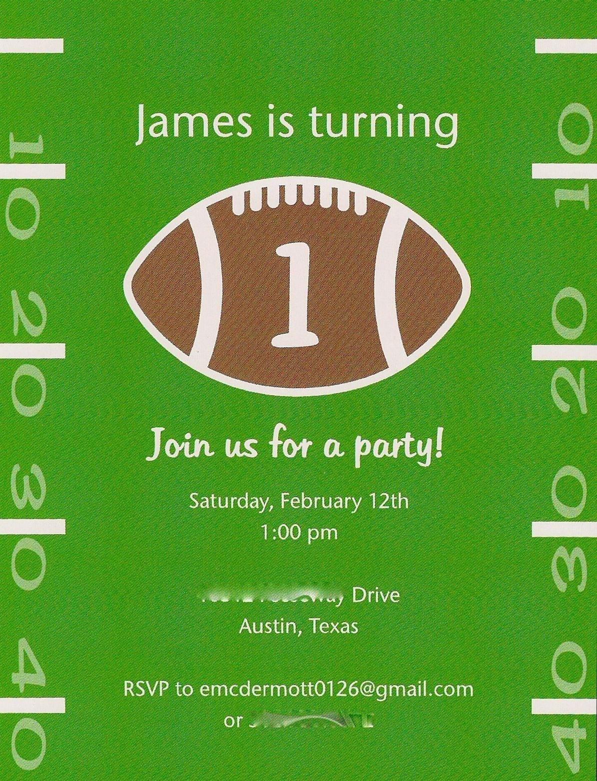 Football Themed Birthday Invitations Free