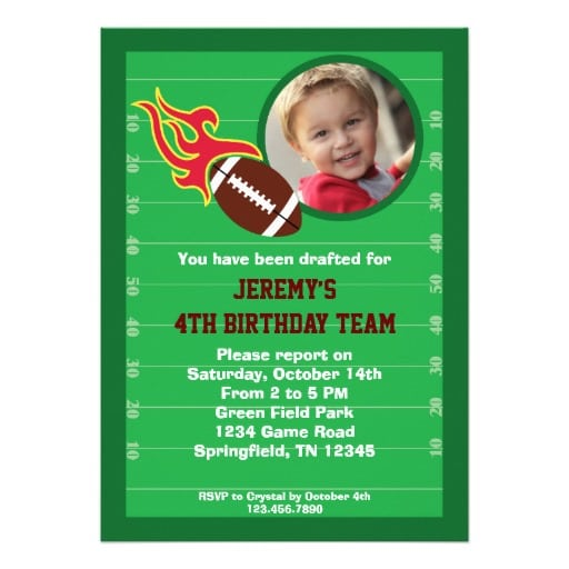 Football Themed Birthday Party Invitation Wording
