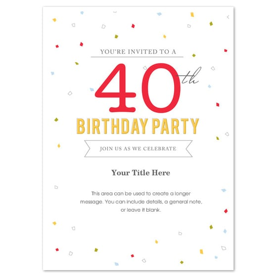 40th Birthday Invitation Template Word