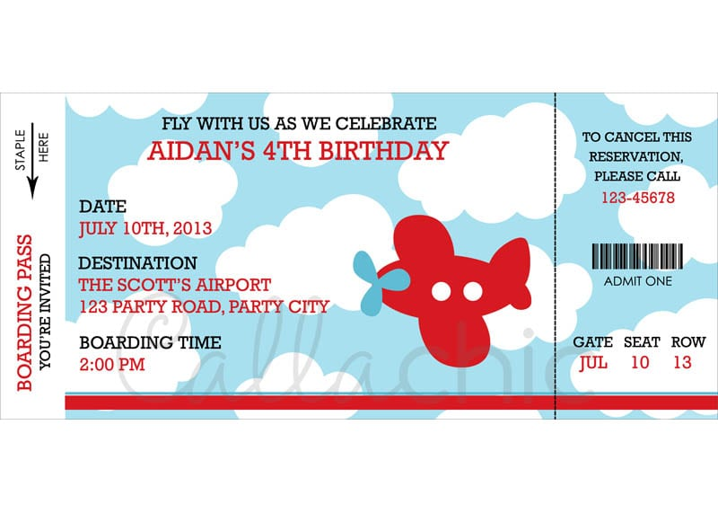 Free Aeroplane Birthday Invitation Printables