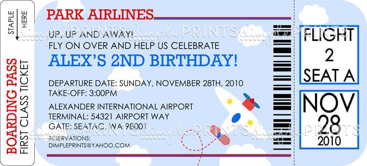 Free Airplane Birthday Invitation Template