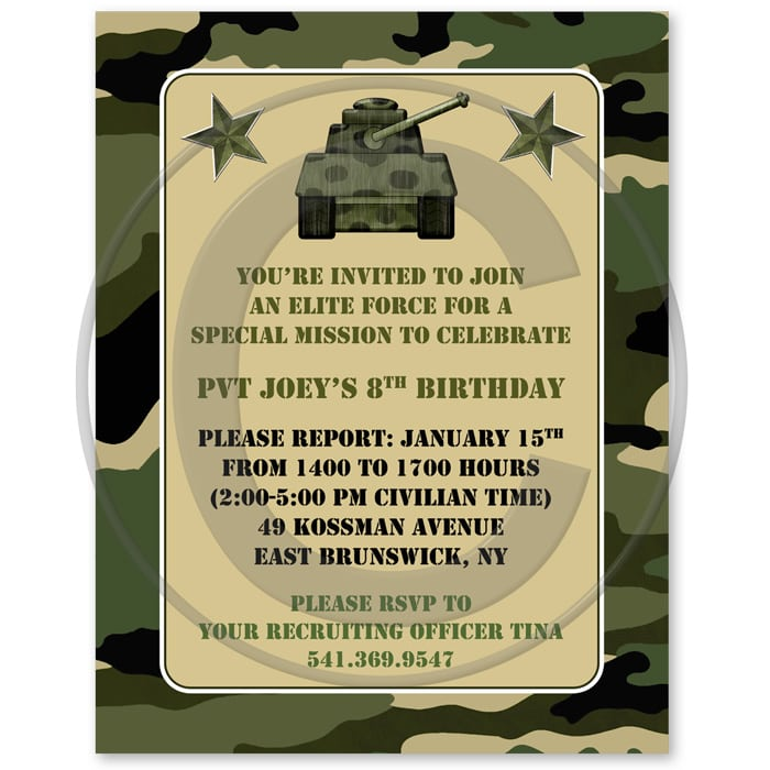Free Army Party Invitations