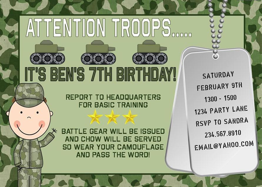 Free Army Theme Party Invitations