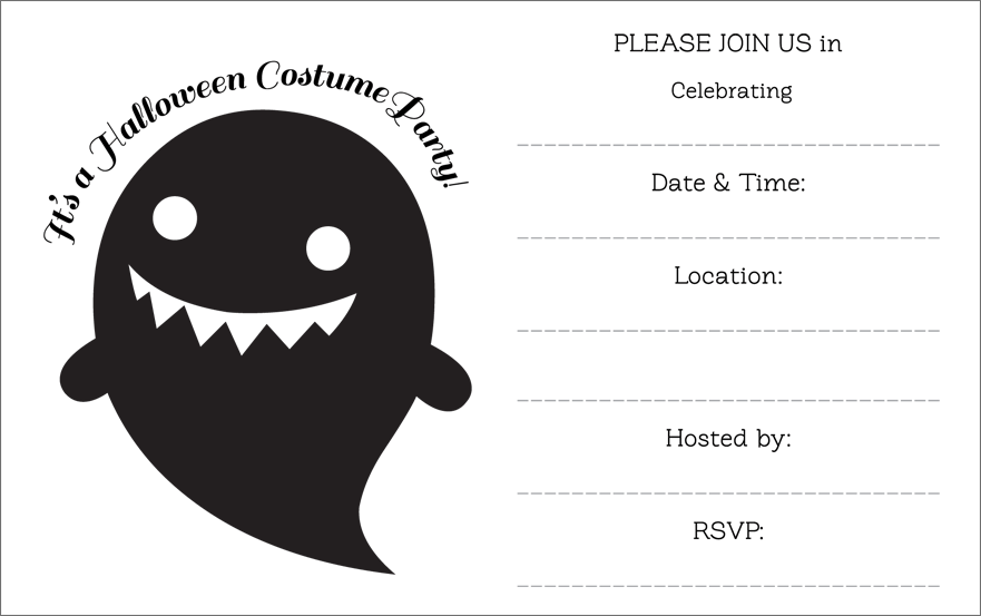Free Black And White Halloween Printable Invitations