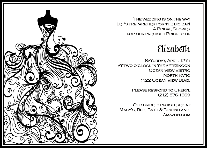 Free Black And White Printable Wedding Invitations